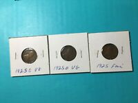 1925 P D S FINE LINCOLN WHEAT PENNIES 1925 P 1925 D 1925 S LOT OF 3