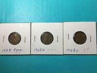 1928 P D S FINE LINCOLN WHEAT PENNIES 1928 P 1928 D 1928 S LOT OF 3