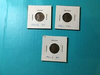 1951 P D S AU LINCOLN WHEAT PENNIES 1951 D 1951 P 1951 S LOT OF 3