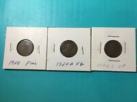 1920 P D S FINE LINCOLN WHEAT PENNIES 1920 P 1920 D 1920 S: EF LOT OF 3
