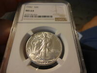 1942 NGC MINT STATE 64, LIBERTY WALKING HALF DOLLAR, BRILLIANT LUSTER