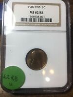 1909-VDB LINCOLN WHEAT CENT, NGC MINT STATE 62 RB, 11