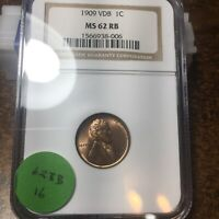 1909-VDB LINCOLN WHEAT CENT, NGC MINT STATE 62 RB, 16