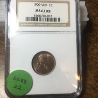 1909-VDB LINCOLN WHEAT CENT, NGC MINT STATE 62 RB, 22