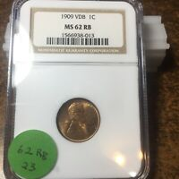 1909-VDB LINCOLN WHEAT CENT, NGC MINT STATE 62 RB, 23