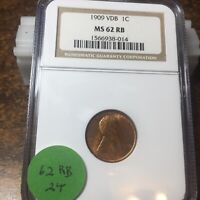 1909-VDB LINCOLN WHEAT CENT, NGC MINT STATE 62 RB, 24