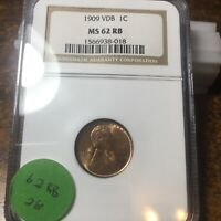 1909-VDB LINCOLN WHEAT CENT, NGC MINT STATE 62 RB, 28