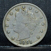 1891 LIBERTY V NICKEL  VF DETAILS  5C  FINE  NOW TRUSTED