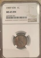 1909 VDB 1 CENT MINT STATE 65 BN GREAT COLOR AND DETAILS