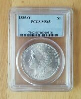 1885-O MORGAN SILVER DOLLAR PCGS MINT STATE 65