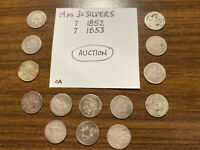 FOURTEEN 14 PIECES OF CIRCULATED THREE CENT SILVERS SILVER 3C SEVEN 1852 & 1853
