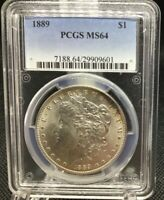 1889-P MORGAN SILVER DOLLAR, PCGS MINT STATE 64, GREAT COIN WITH EDGE TONING ON OBV