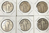 6 STANDING LIBERTY SILVER QUARTERS 1925-1930 ALL PS RECEIVE COINS PICTURED 48