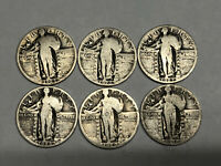 6 STANDING LIBERTY SILVER QUARTERS 1925-1930 ALL PS RECEIVE COINS PICTURED  7