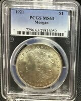 1921-P MORGAN SILVER DOLLAR, PCGS MINT STATE 63, FROSTY