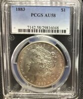 1883-P MORGAN SILVER DOLLAR, PCGS AU58, UNDER GRADE?  SWEET COIN