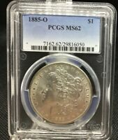 1885-O MORGAN SILVER DOLLAR, PCGS MINT STATE 62, FROSTY