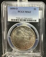 1890-O MORGAN SILVER DOLLAR, PCGS MINT STATE 63, FROSTY WITH SOME MIRRIORS