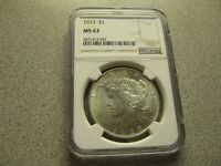 MINT STATE 63 1923 PEACE SILVER DOLLAR - GRADED NGC