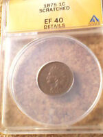 1875 INDIAN HEAD CENT 1C ANACS EF40 DETAILS  SHIPS FREE