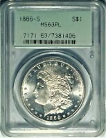 1886-S/S $1 PCGS MINT STATE 63 PL OGH CHOICE UNCIRCULATED PROOF LIKE MORGAN DOLLAR VAM-2