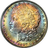 1887-P $1 MORGAN SILVER DOLLAR  NGC MINT STATE 64  RAINBOW TONED TONING 046 TRUSTED