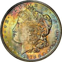 1878-CC $1 MORGAN SILVER DOLLAR  NGC MINT STATE 63  RAINBOW TONED TONING 006 TRUSTED