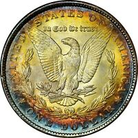 1889-P $1 MORGAN SILVER DOLLAR  NGC MINT STATE 64  RAINBOW TONED TONING 015 TRUSTED