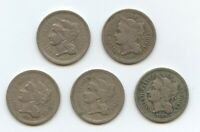 1865 TO 1869 3C NICKELS 5 PC. SET 12246 GOOD TO VF. MOST WITH LIGHT PROBLEMS.