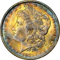 1885-O $1 MORGAN SILVER DOLLAR  NGC MINT STATE 64  RAINBOW TONED TONING 037 TRUSTED