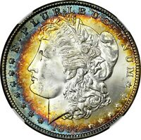 1898-O $1 MORGAN SILVER DOLLAR  NGC MINT STATE 64 STAR  RAINBOW TONED 022 TRUSTED
