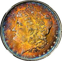 1889-P $1 MORGAN SILVER DOLLAR  NGC MINT STATE 63  RAINBOW TONED TONING 026 TRUSTED