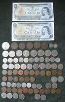 CANADA  MIXED LOT OF 83 COINS & 2   $1.00 BANKNOTES; 1 5 10