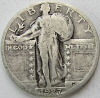 1927 STANDING LIBERTY SILVER QUARTER IN A SAFLIP - VG- GOOD