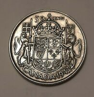 1943 CANADA 50 CENTS COIN  80  SILVER    KING GEORGE VI