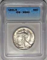 1941-S 50C ICG MINT STATE 63 CHOICE UNCIRCULATED UNC WALKING LIBERTY HALF DOLLAR COIN