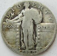 1929-D STANDING LIBERTY SILVER QUARTER IN A SAFLIP - VG- GOOD