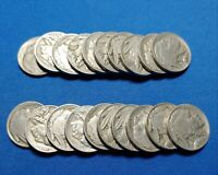 HALF ROLL 20 COINS OF 1938 D BUFFALO NICKELS, COLLECTABLE CONDITION. EB50