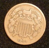 1864 TWO CENT PIECE 2 PENNY US ANTIQUE CURRENCY OLD U.S. COI
