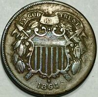 1864 TWO 2 CENT PIECE  LARGE MOTTO FINE/VF CONDITION