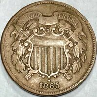 1865 TWO 2 CENT PIECE  PLAIN 5 IN FINE  CONDITION
