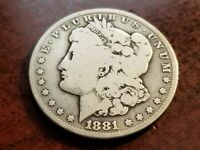 1881 CC MORGAN SILVER DOLLAR, KEY DATE, TOUGH CARSON CITY       INV07    S710