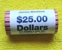 2007 D JAMES MADISON ROLL  PRESIDENTIAL DOLLAR COIN BU ROLL SHIPS FREE