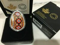 EGG PYSANKA COLORED COIN 1 OZ .9999 SILVER COIN CANADA