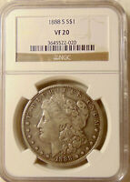 1888-S MORGAN SILVER DOLLAR - BETTER DATE - NGC VF-20 -   LOOKING COIN