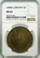 UK GREAT BRITAIN TRADE DOLLAR 1898 B NGC MS62   NICELY TONED
