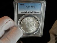 PCGS 1890-P MINT STATE 62 MORGAN SILVER DOLLAR  SATIN LUSTER.