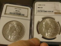 1881-O NGC MINT STATE 62 & 1888-O NGC MINT STATE 63 MORGAN SILVER DOLLARS