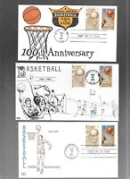 US FDC FIRST DAY COVERS  2560 BASKETBALL 1991  LOT OF 3  COM
