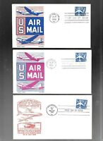 US FDC FIRST DAY COVERS AIR MAIL 1958 BLUE JET   LOT OF 12
